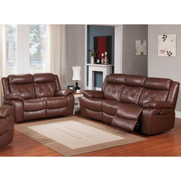 Rivallo Brown 2 Piece Top Grain Leather Power Reclining