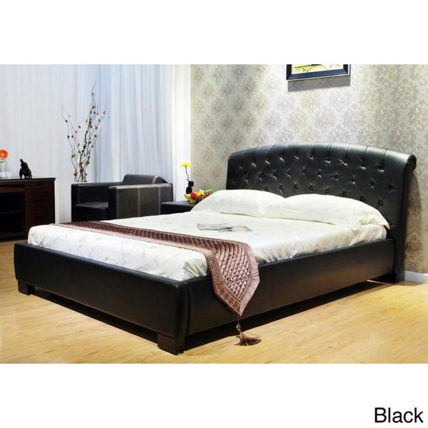 Eastern King Faux Leather Modern Platform Bed 16279164