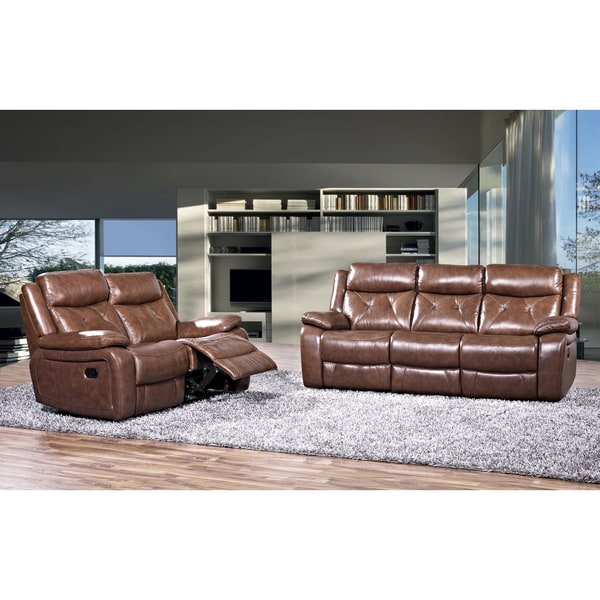 Grain Leather Sofa: Rivallo Brown 2-piece Top Grain Leather Reclining Sofa And
