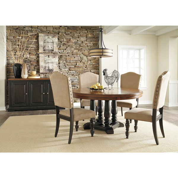 Signature Design By Ashley Shardinelle Two Tone Vintage Brown Round Dining Room Table 16287557 Overstock Com Shopping Great Deals On