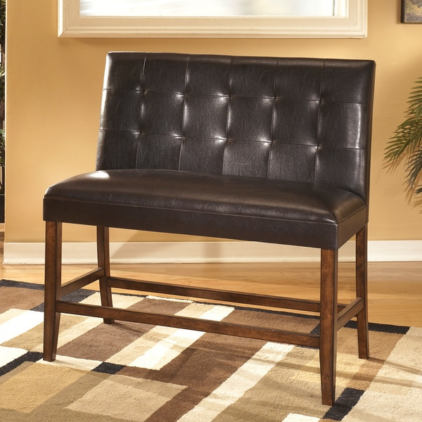 Tribecca Home Tufted Button Back Peat Microfiber Side: Lacey Medium Brown Faux Leather Double Bar Stool (Set Of 2