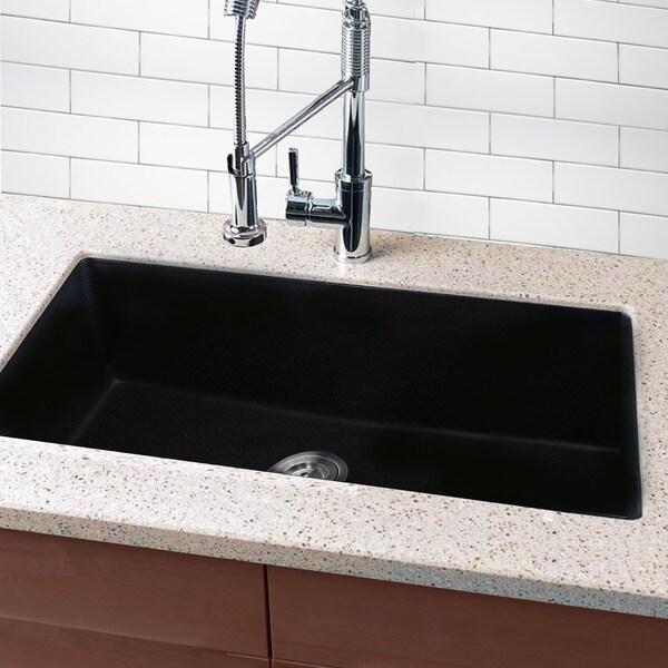 Inch Composite Granite Double Basin Black Kitchen Sink