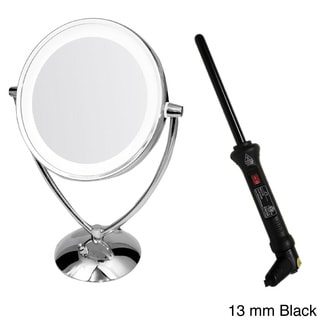 Ovente 1x 10x Dual Sided Round Mirror With Curling Iron