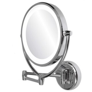 Ovente 1x 10x Wall Mount Mirror With Curling Iron