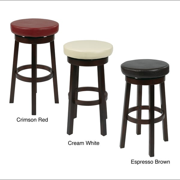 Round Faux Leather Seat And Circular Footrest Barstool
