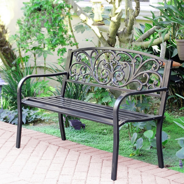 50 Inch Long Scroll Curved Back Steel Park Bench