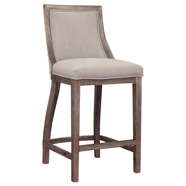 Counter Stools Overstock: Park Avenue Beige Linen Counter Stool