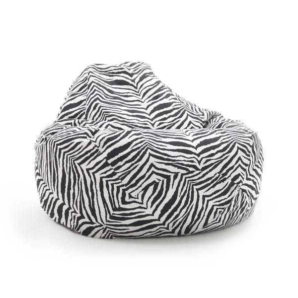 Beansack Large Tear Drop Zebra Print Bean Bag Lounge Chair