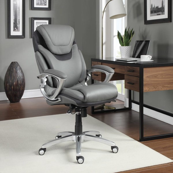 Serta Air Health And Wellness Light Grey Bonded Leather
