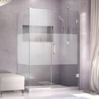 DreamLine Unidoor Plus 50 in. W x 30.375-34.375 in. D x 72 in. H Hinged Shower Enclosure, Half Frosted Glass Door