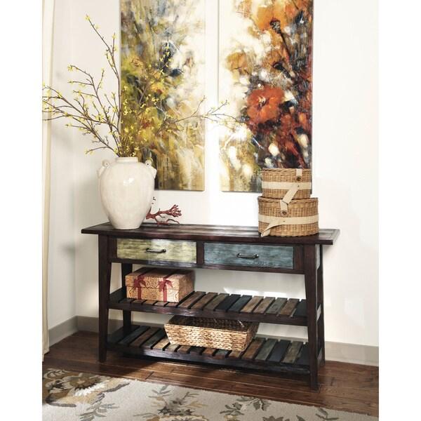 signature designs by ashley mestler rustic sofa table Archer Espresso Sofa Table Cotail Table Overstock