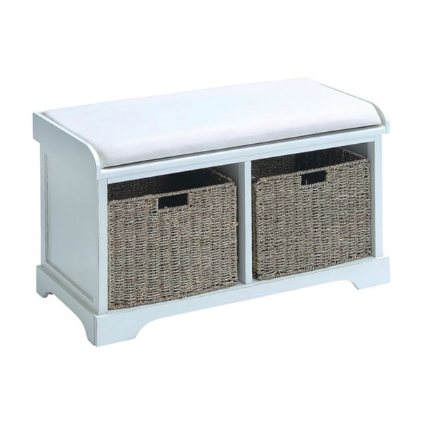 White Wood Basket Bench With Storage Capacity 16309837
