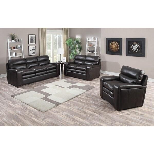 Mercer Dark Brown Italian Leather Sofa, Loveseat and Chair