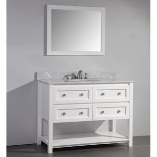 Marble Top 48 Inch Single Sink White Bathroom Vanity With