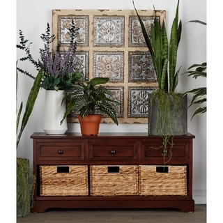 Espresso Wooden Storage Cabinet With Wicker Baskets 13100955 Overstock Com Shopping Big