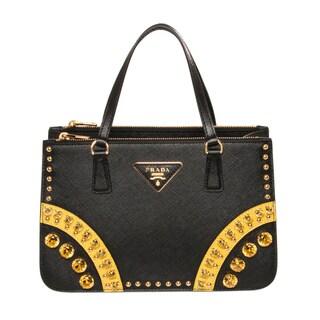 9112827814d Black Handbag: Prada Black Saffiano Leather Mini Tote Handbag