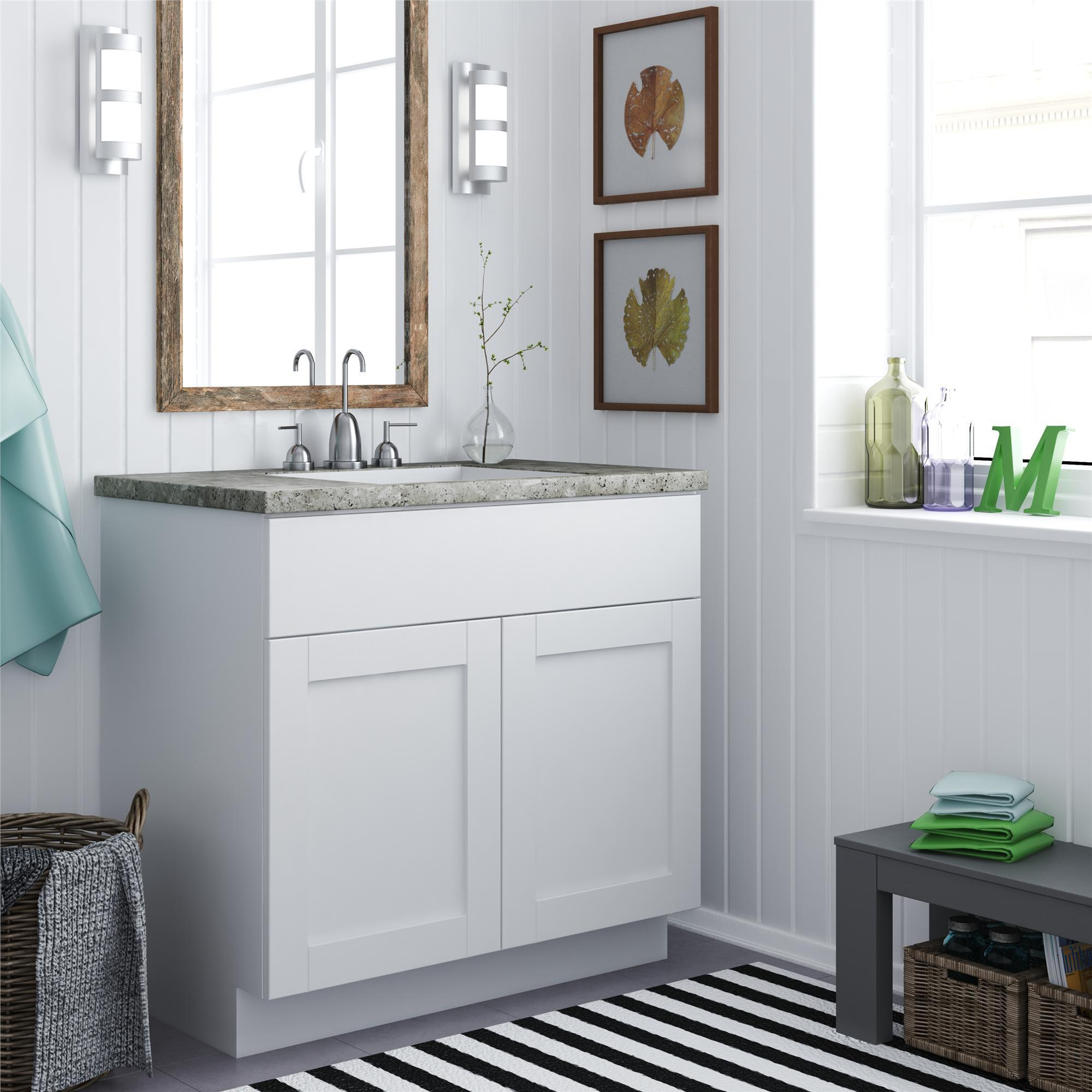 White Stipple 30in Bath Vanity Cabinet Bathroom Sink 2 ...