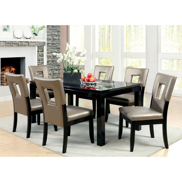 Furniture Of America Evantel 7-Piece Mirror Dining Table