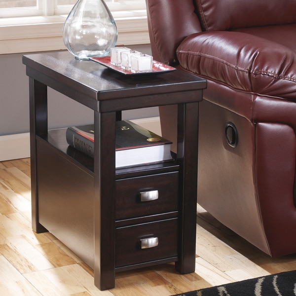 Narrow Coffee Table With Drawers: Signature Designs By Ashley Hatsuko Espresso Chair Side