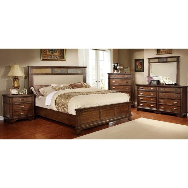 Greyson Living Laguna Antique White Panel Bed 6piece: Furniture Of America Glisea 4-Piece Brown Cherry Bedroom Set