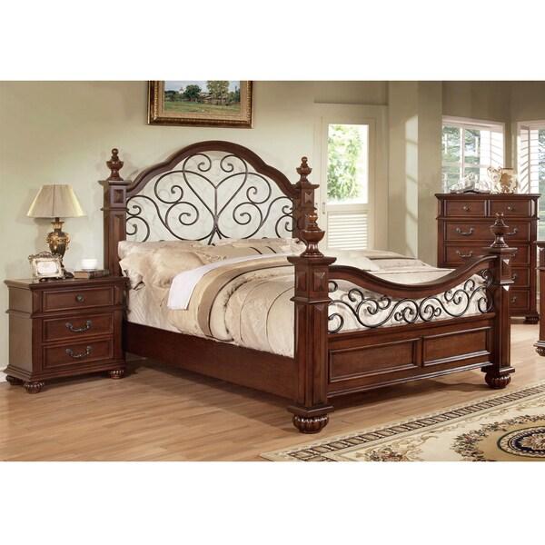 furniture of america barath antique dark oak wood and metal poster bed. Black Bedroom Furniture Sets. Home Design Ideas