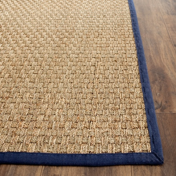 Safavieh Casual Natural Fiber Natural And Blue Border
