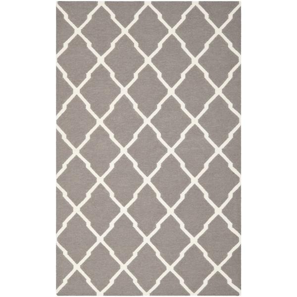 Safavieh Hand-woven Reversible Dhurries Dark Grey/ Ivory Wool Rug - 10' x 14'