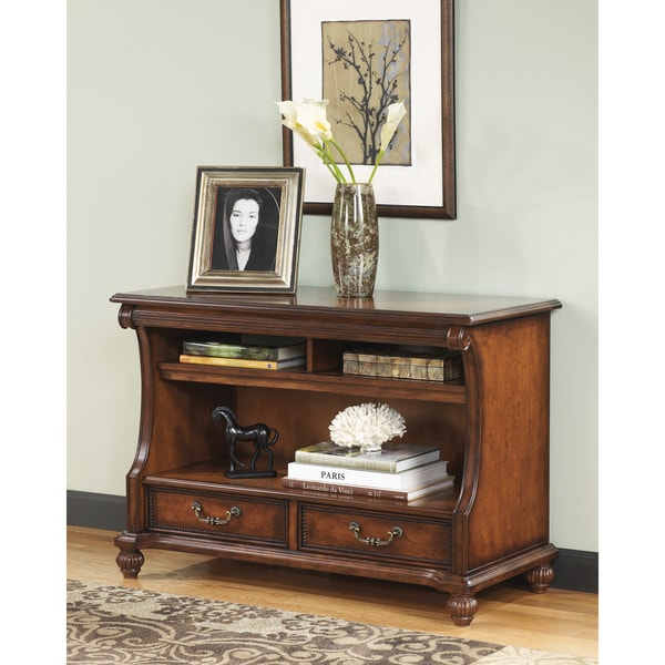 signature designs by ashley  shelton  dark brown finish overstock sofa side table Cream Sofa Table