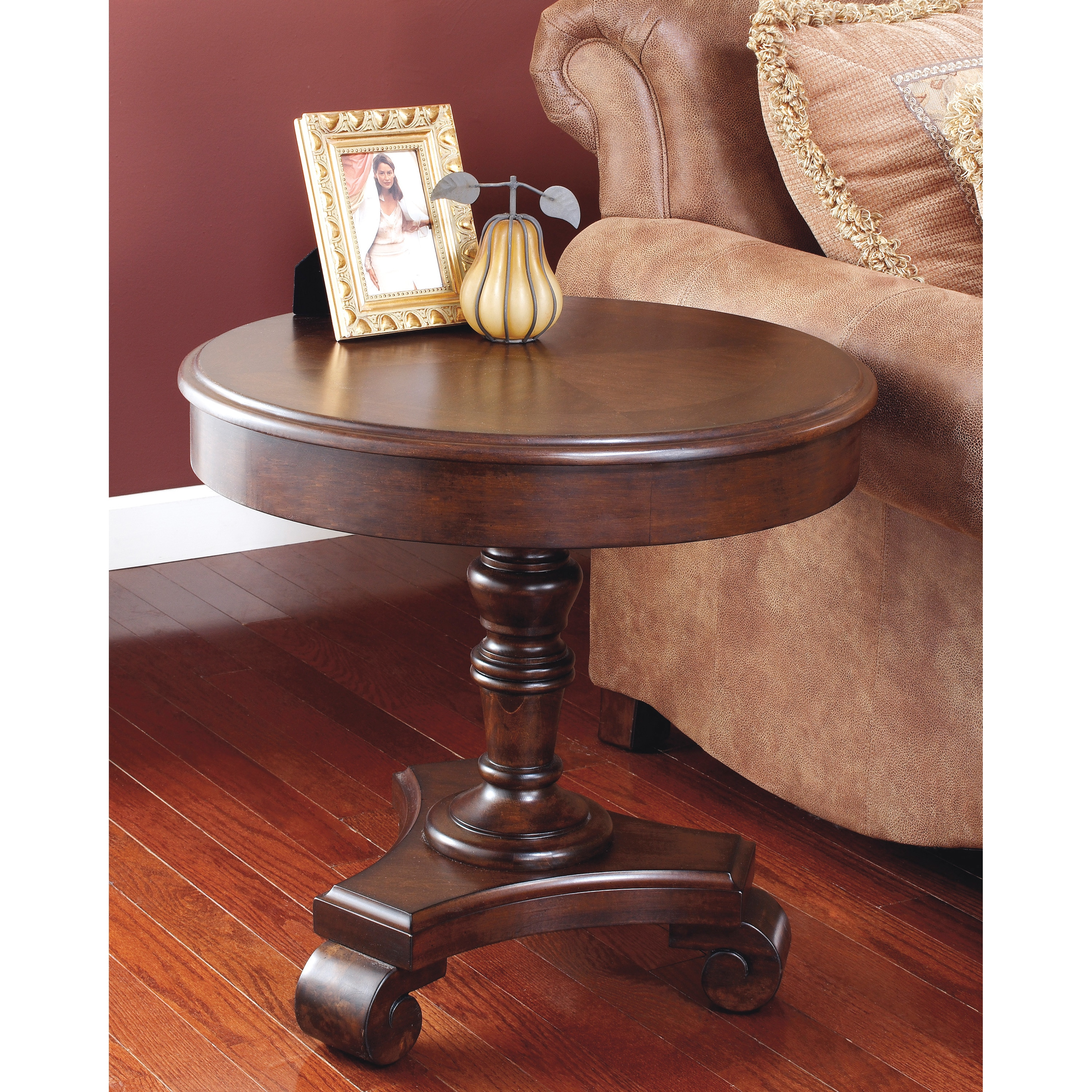 Signature Design By Ashley Brookfield Brown Round End: Signature Designs By Ashley 'Brookfield' Dark Rustic Round
