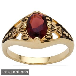 Antiqued Gold Plated Oval Birthstone Filigree Ring