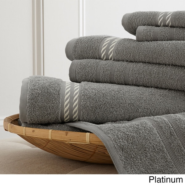 Embroidered Towels Online: Egyptian Cotton Embroidered Rope 6-piece Towel Set