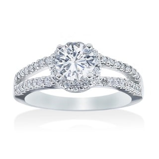 14k White Gold 3/4ct TDW Diamond Halo Engagement Ring (I-J, I2-I3) | Overstock.com Shopping - The Best Deals on Engagement Rings