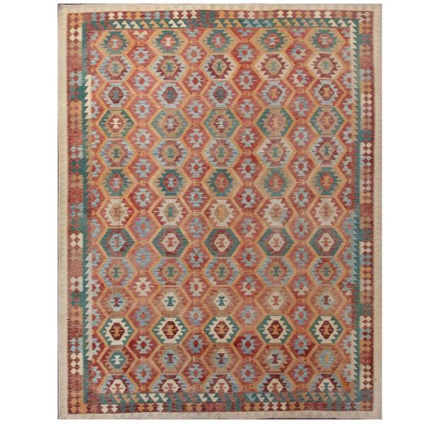 Herat Oriental Afghan Hand-woven Tribal Kilim Rust/ Teal