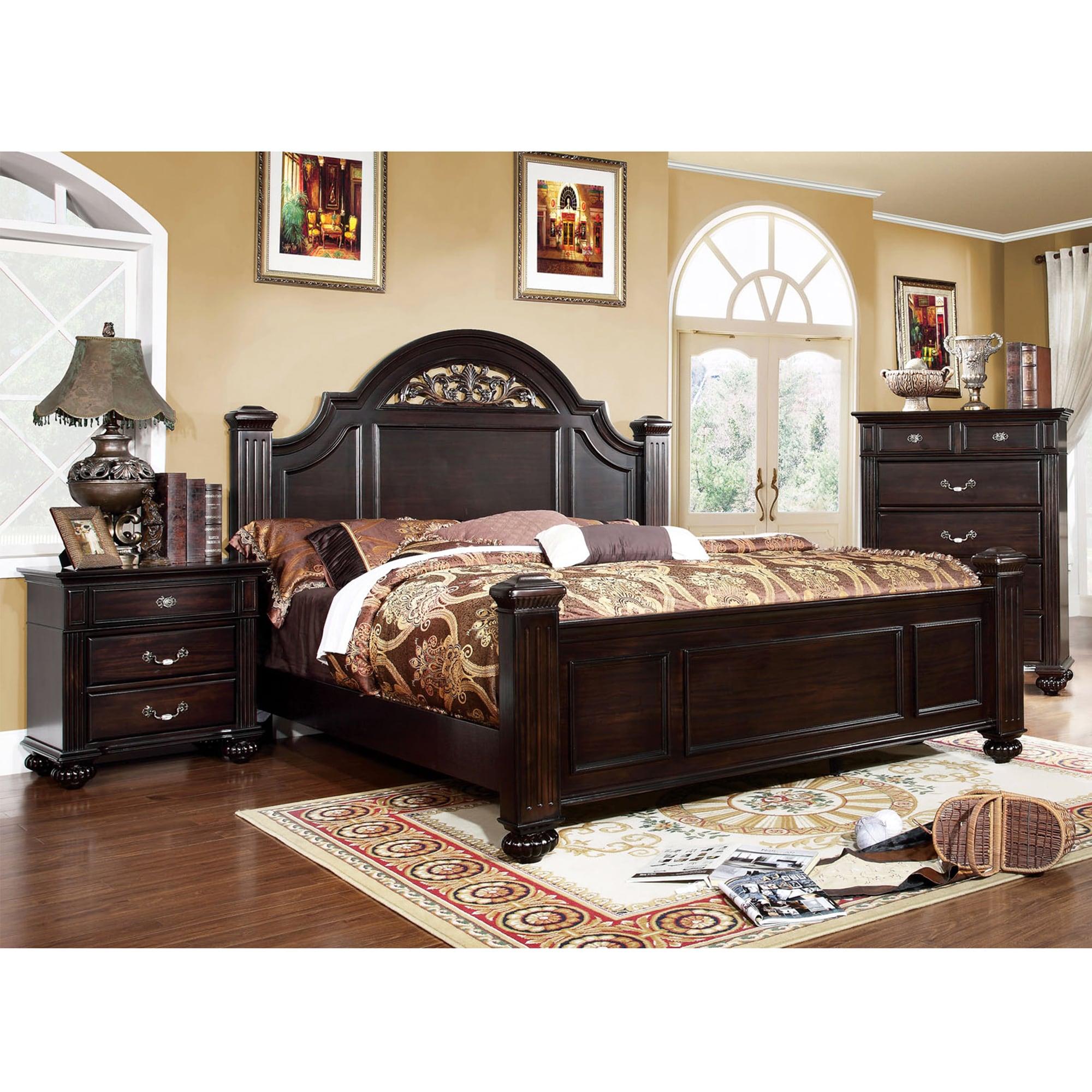 Cheap Warehouse Furniture: Furniture Of America Grande 2-Piece Dark Walnut Bed With