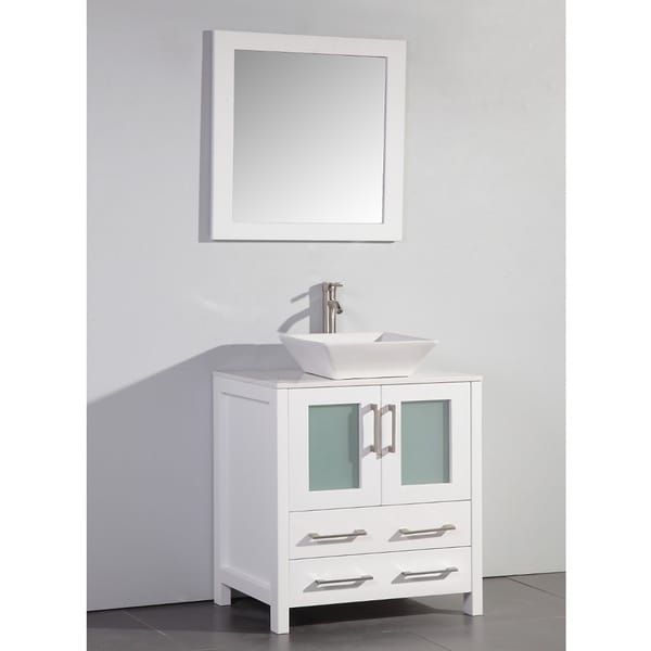 White artificial stone top 30 inch vessel sink white - 30 inch white bathroom vanity with sink ...