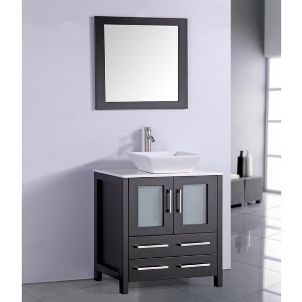 White artificial stone top 30 inch vessel sink espresso - 30 inch white bathroom vanity with sink ...