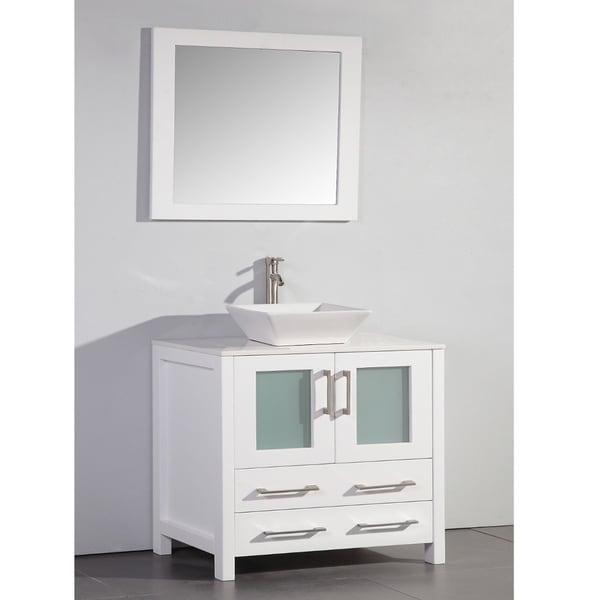 White Artificial Stone Top 36-inch Vessel Sink Bathroom ...