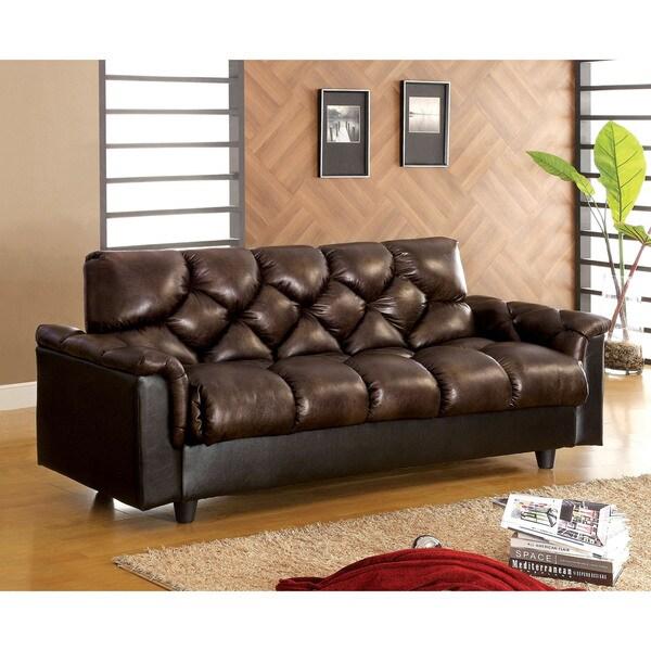 Furniture Of America Pouffle Brown Leather Like Futon Sofa