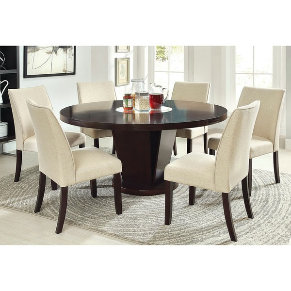 Round Table Sets: Furniture Of America Lolitia 7-Piece Espresso Round 60