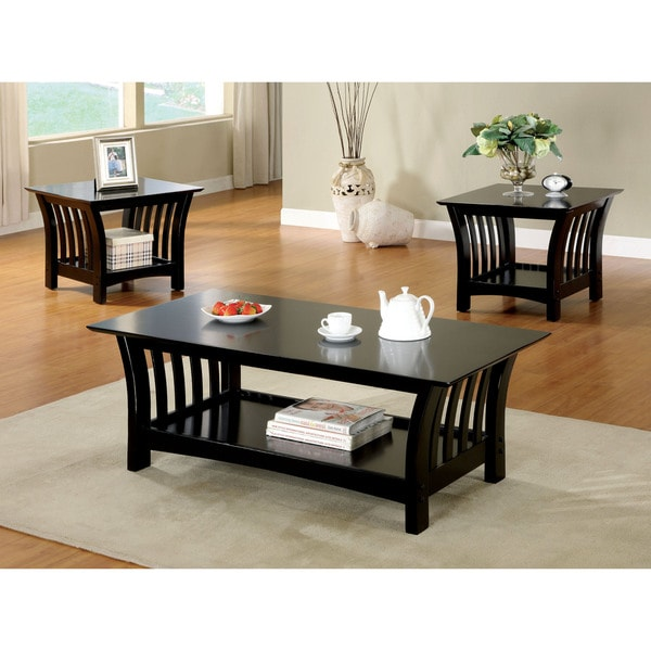 3 Piece Faux Marble Coffee Table Set Living Room Sofa: Furniture Of America Marlenie 3-Piece Black Transitional
