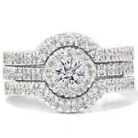14k White Gold 1 1/4ct TDW Diamond Halo Bridal Ring Set