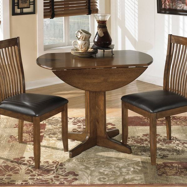 Round Dining Room Table With Leaf: Signature Designs By Ashley Stuman Round Drop-leaf Table