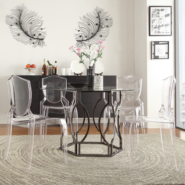 Deals On Dining Tables: INSPIRE Q Concord Black Nickel Plated Round Glass Dining
