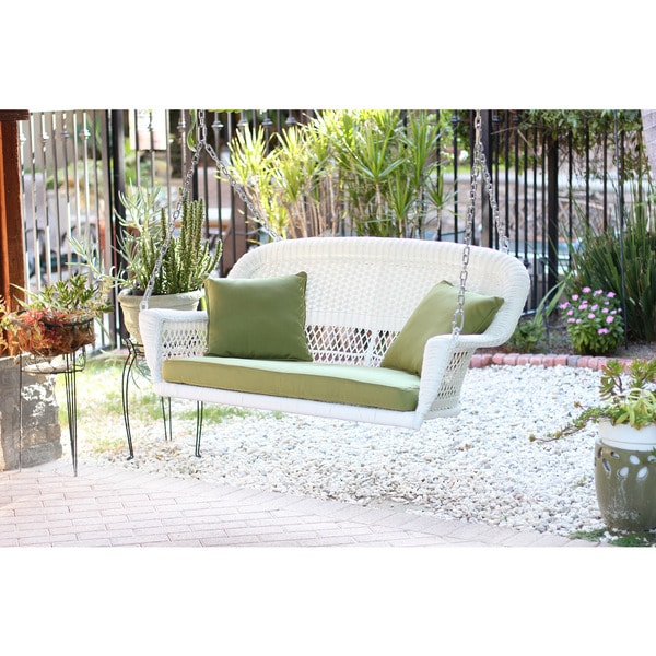 White Resin Wicker Porch Swing With Cushions 16357825