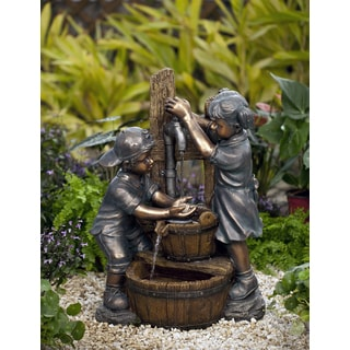 Two Kids And Dog Outdoor Indoor Water Fountain 15555802