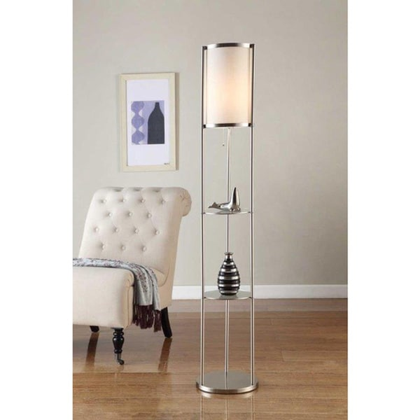 Artiva Usa Exeter Modern 63 Inch Brushed Steel Floor Lamp With Durable Glass Shelf And Silk