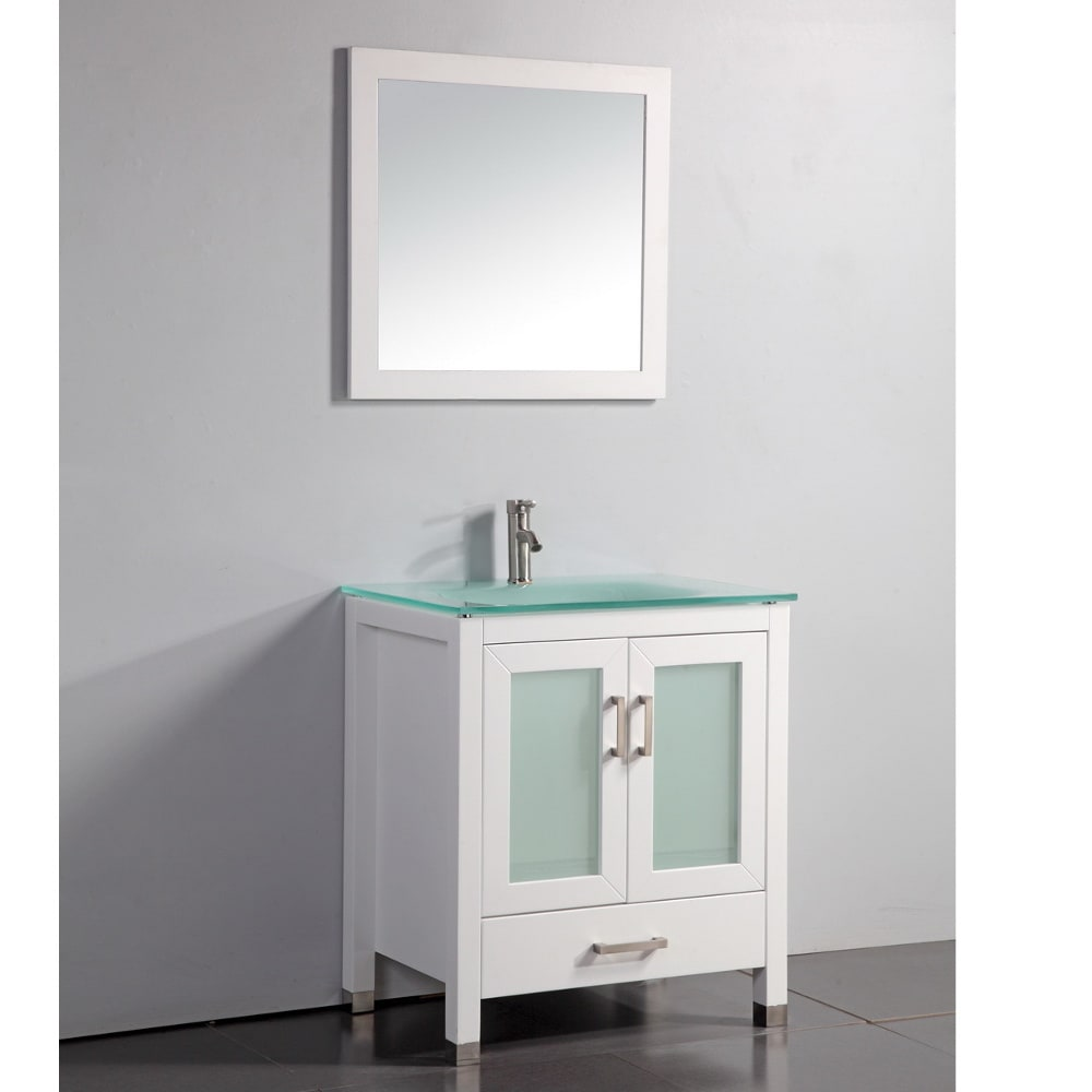 Tempered Glass Top White 30-inch Bathroom Vanity with ...