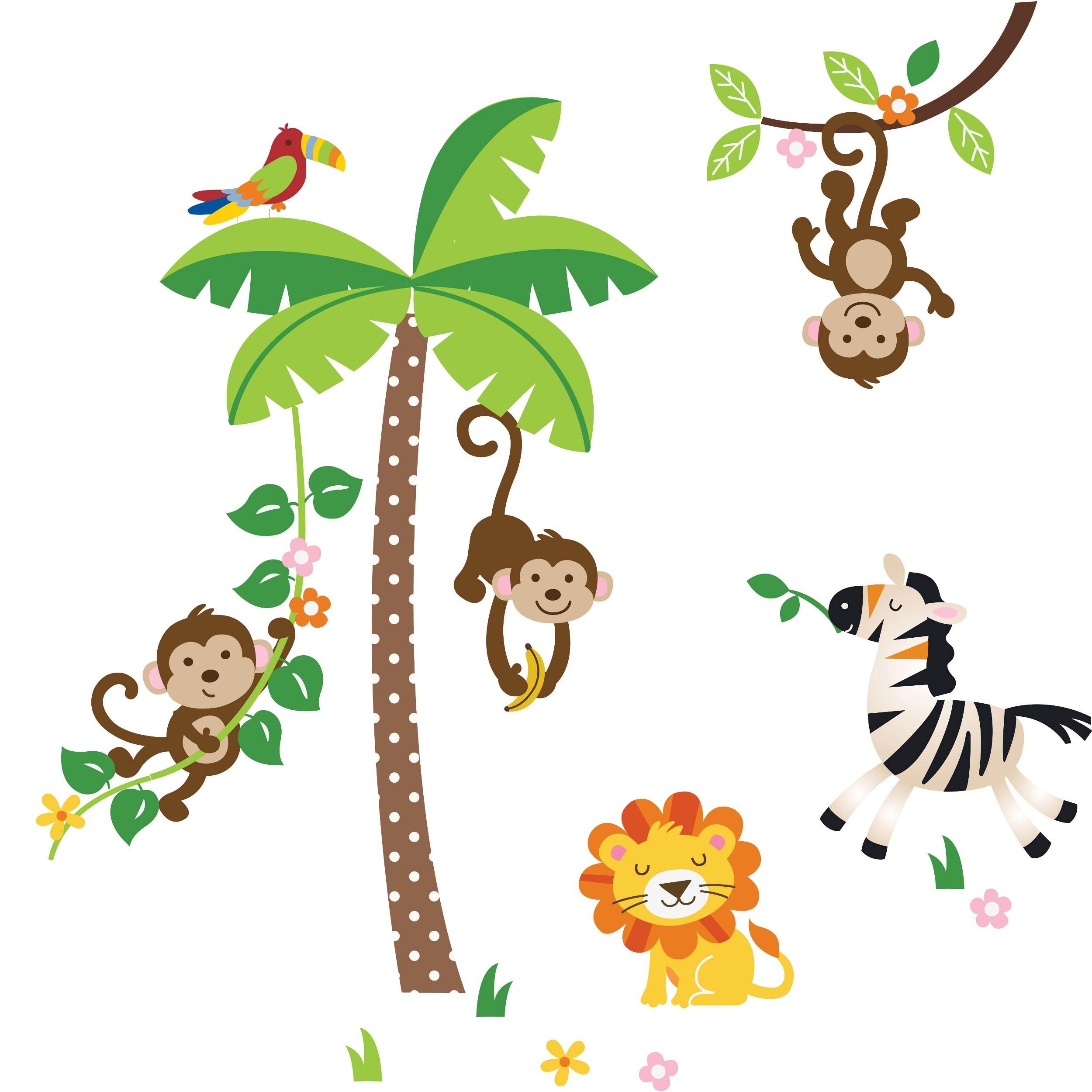 Peel & Stick Giant Jungle Monkeys Wall Decal - Overstock ...