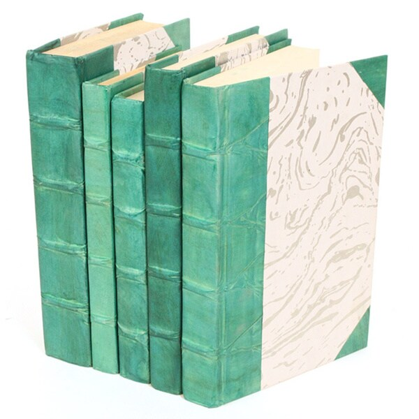 Teal Accent Pieces: Parchment Collection Decorative Books Teal (Set Of 5