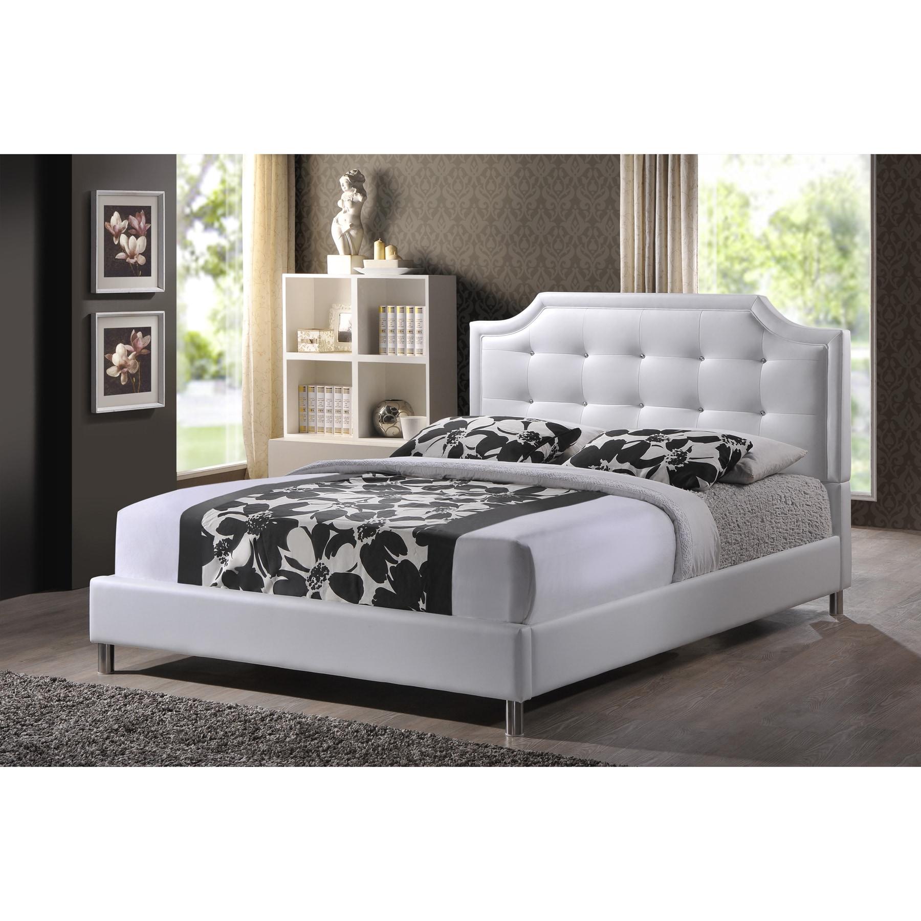 Modern White Headboard: Carlotta White Modern Bed With Upholstered Headboard